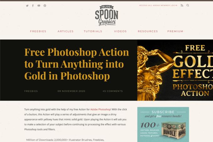 Adobe Photoshop Free Action Gold Effects フォトショップ フリー 無料 アクション ゴールド エフェクト 配布サイト
