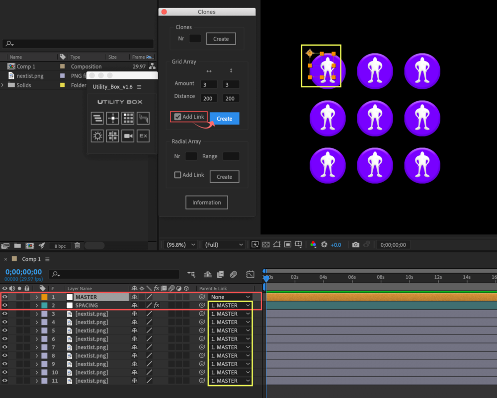 Adobe After Effects Utility BOX Clones Information クローン ツール Grid Array Add Link
