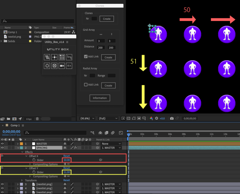 Adobe After Effects Utility BOX Clones Information クローン ツール Grid Array Add Link SPACING Offset