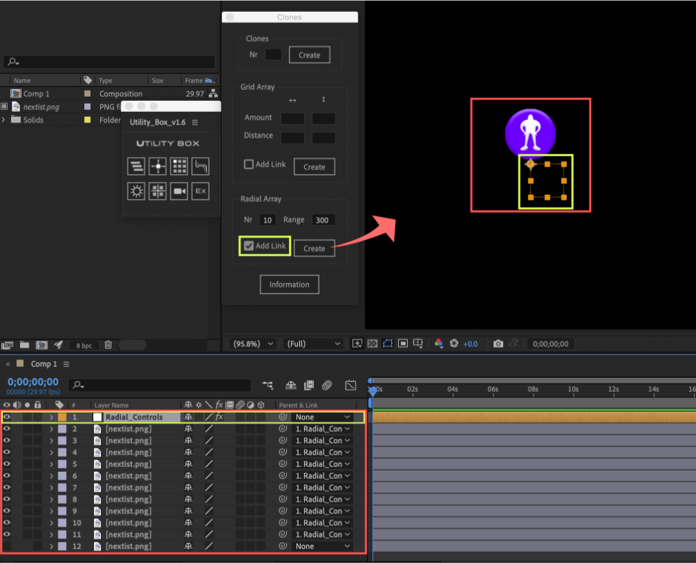 Adobe After Effects Utility BOX Clones Information クローン ツール Radial Array Add Link Radial_Controls