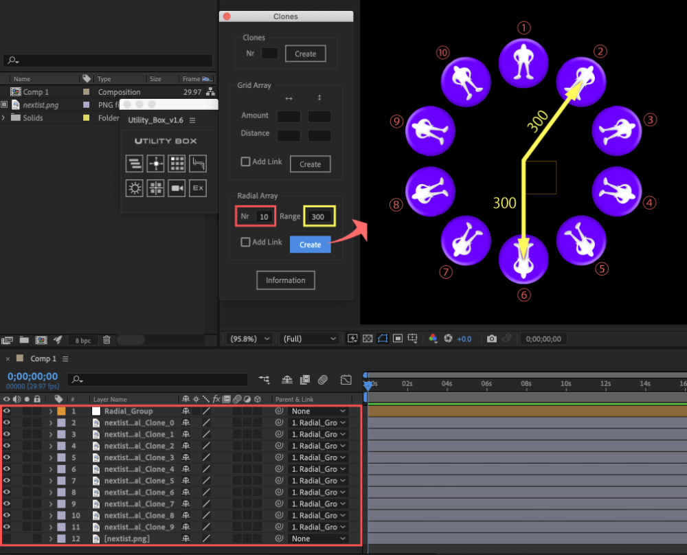 Adobe After Effects Utility BOX Clones Information クローン ツール Radial Array Create
