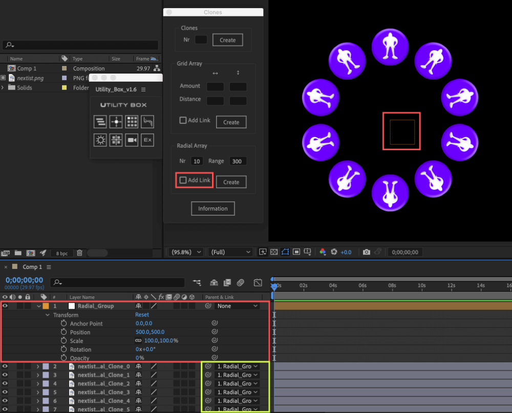 Adobe After Effects Utility BOX Clones Information クローン ツール Radial Array Null Layer ヌルレイヤー