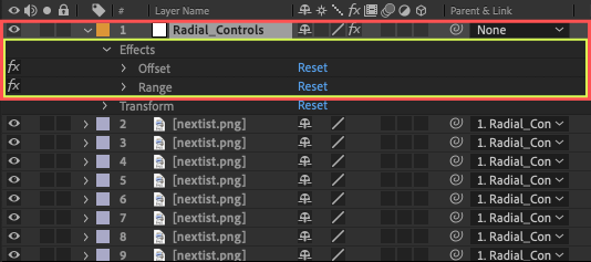Adobe After Effects Utility BOX Clones Information クローン ツール Radial Array Add Link Radial_Controls Effects