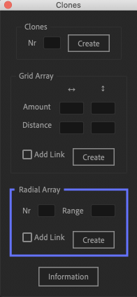 Adobe After Effects Utility BOX Clones Information クローン ツール Radial Array
