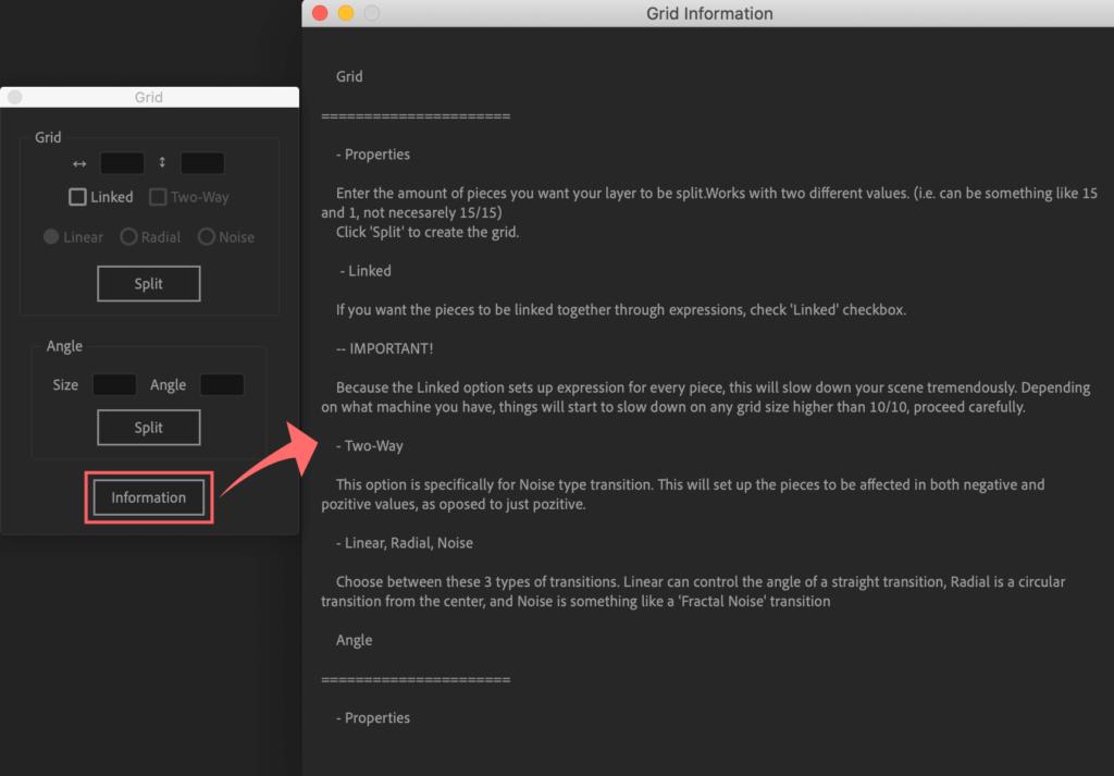 Adobe After Effects Utility BOX Shapes ツール Needles 操作 機能 使い方 解説 Grid Information インフォメーション