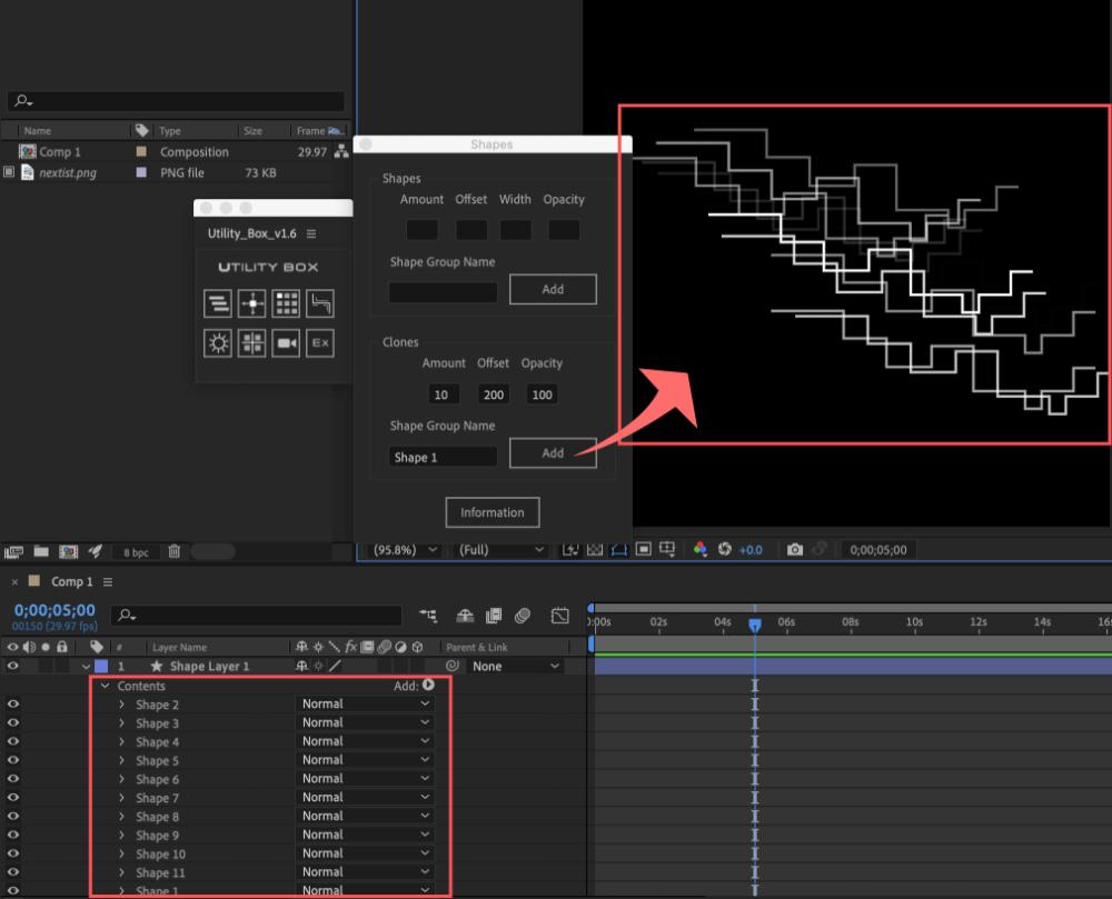 Adobe After Effects Utility BOX Shapes 1 ツール 操作 方法 Clones 機能