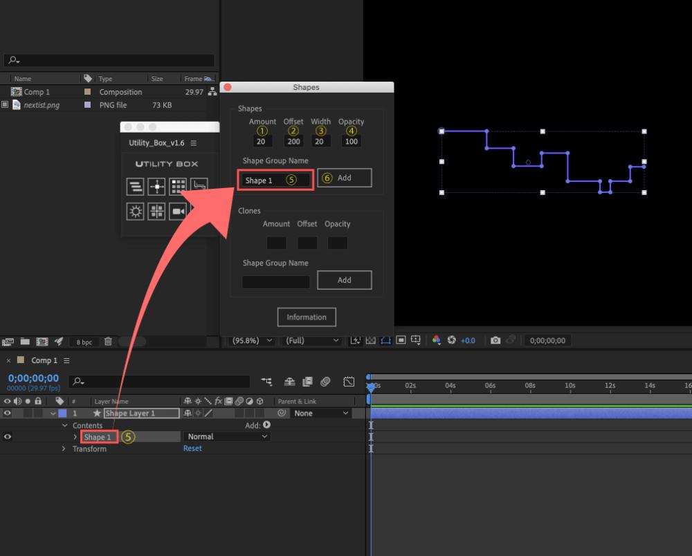 Adobe After Effects Utility BOX Shapes 1 ツール 操作 方法
