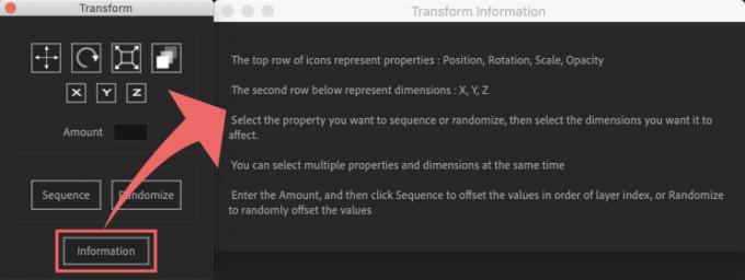 Adobe After Effects Utility BOX Transform トランスフォーム インフォメーション