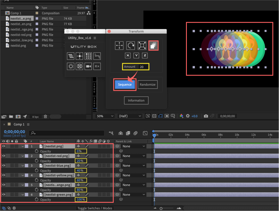Adobe After Effects Utility BOX Transform トランスフォーム ツール パネル Opacity 不透明度 Sequence
