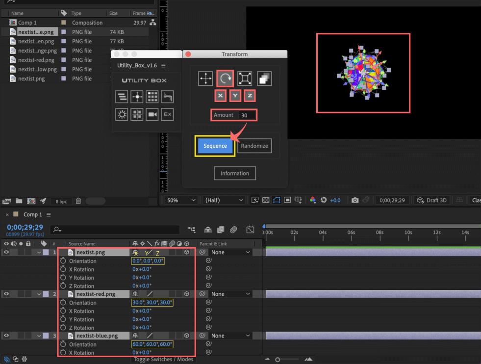 Adobe After Effects Utility BOX Transform トランスフォーム ツール パネル 回転 Rotation Orientation 3D