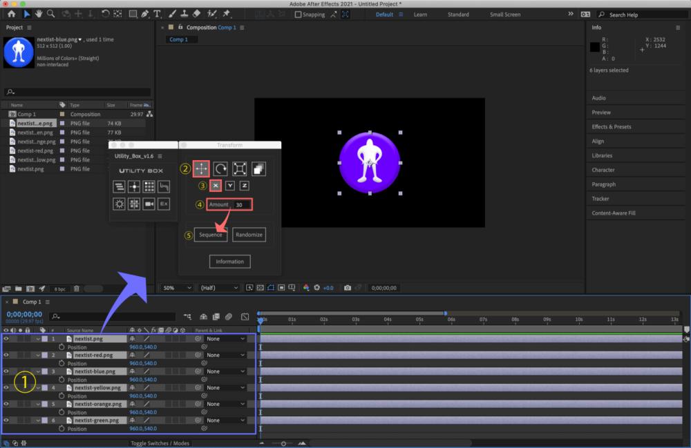 Adobe After Effects Utility BOX Transform トランスフォーム ツール パネル 位置(Position)