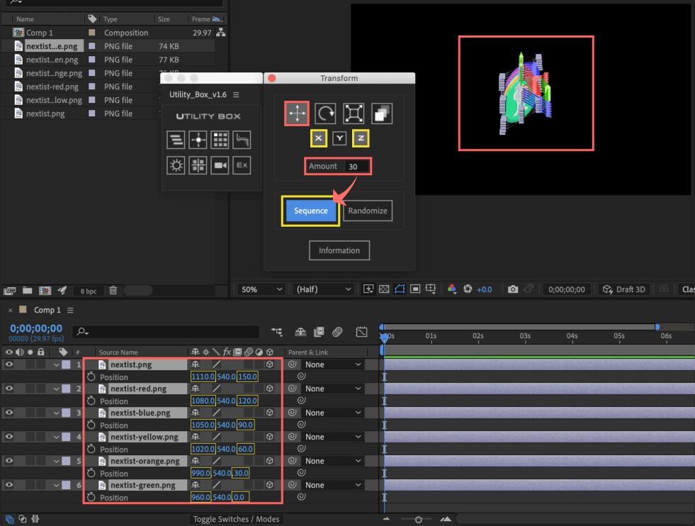 Adobe After Effects Utility BOX Transform トランスフォーム ツール パネル 位置 Position X軸 Z軸