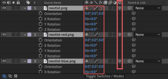Adobe After Effects Utility BOX Transform トランスフォーム ツール パネル 回転 Rotation 3D スイッチ