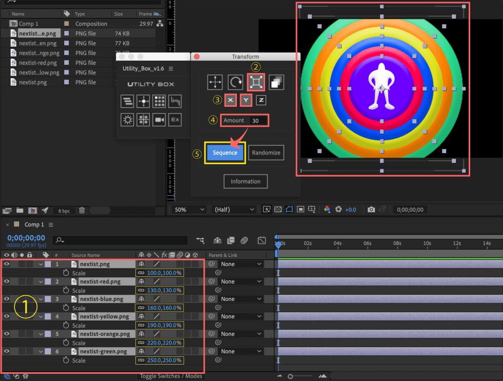 Adobe After Effects Utility BOX Transform トランスフォーム ツール パネル スケール Scale