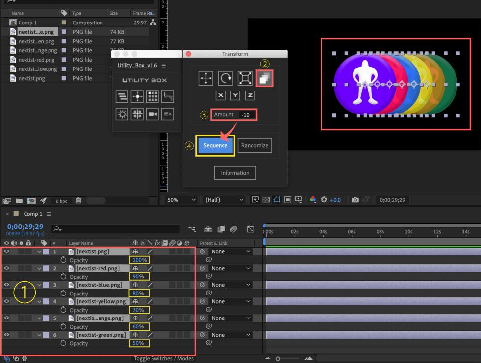 Adobe After Effects Utility BOX Transform トランスフォーム ツール パネル Transparent 不透明度 Sequence シーケンス