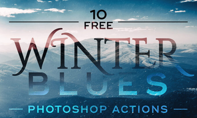 Adobe Photoshop Free Action Material フリー アクション 素材 イラスト 冬 雪 10 Free Winter Blues Photo Effect Actions