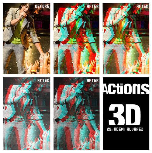 Adobe Photoshop Free Action Material フリー アクション 素材 イラスト グリッチ デジタル サイバー かっこいい ACTION 3D
