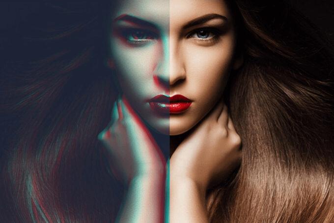 Adobe Photoshop Free Action Material フリー アクション 素材 イラスト グリッチ デジタル サイバー かっこいい ANAGLYPH PHOTOSHOP ACTIONS