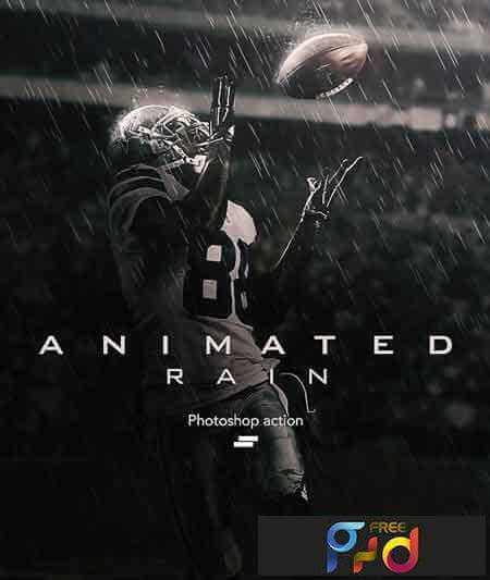 Adobe Photoshop Free Action Material 無料フリー アクション 素材 雨 レイン Animated Rain Photoshop Action