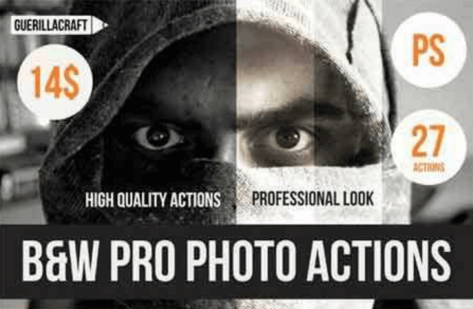 Adobe Photoshop Free Action Material フリー アクション 素材 モノクロ 白黒 モノトーン monotone Black and white pro photo PS actions