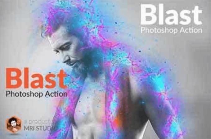 Adobe Photoshop Free Action Material フリー アクション 素材 お洒落 かっこいい グリッチ アナグリフ glitch anaglyph Blast Photoshop Action