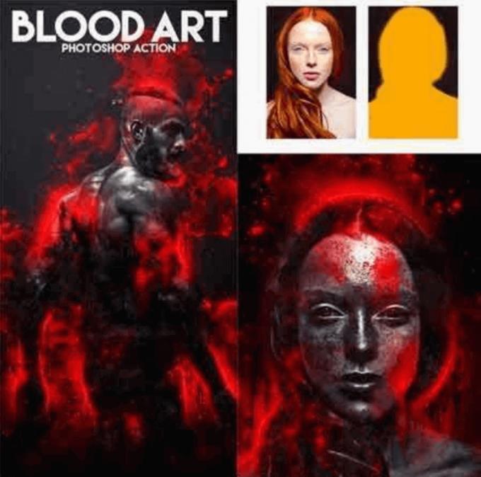 Adobe Photoshop Free Action Material フリー アクション 素材 ホラー horror ハロウィン 素材 Blood Art