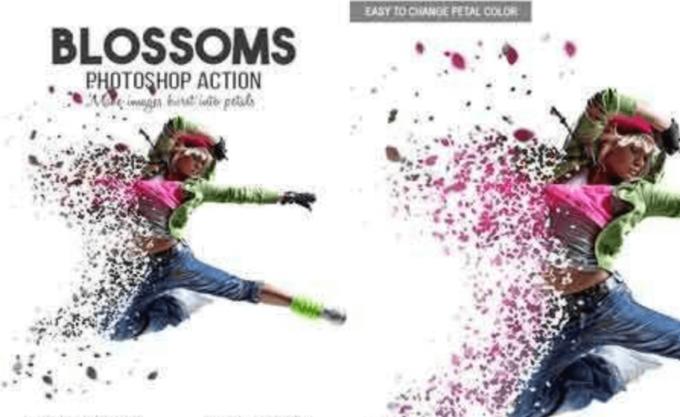 Adobe Photoshop Free Action Material フリー アクション 素材 粉々 パーティクル バラバラ Blossoms Photoshop Action