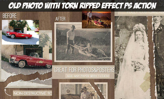Adobe Photoshop Free Action Material フリー アクション 素材 ヴィンテージ レトロ Old Vintage Photo Effect Photoshop Free Action