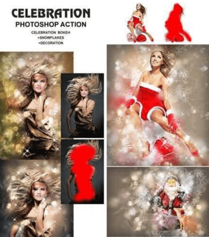 Adobe Photoshop Free Action Material フリー アクション 素材 冬 雪 ウィンター Winter クリスマス Celebration
