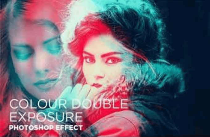 Adobe Photoshop Free Action Material フリー アクション 素材 かっこいい お洒落 モダンColour Double Exposure Photoshop FX