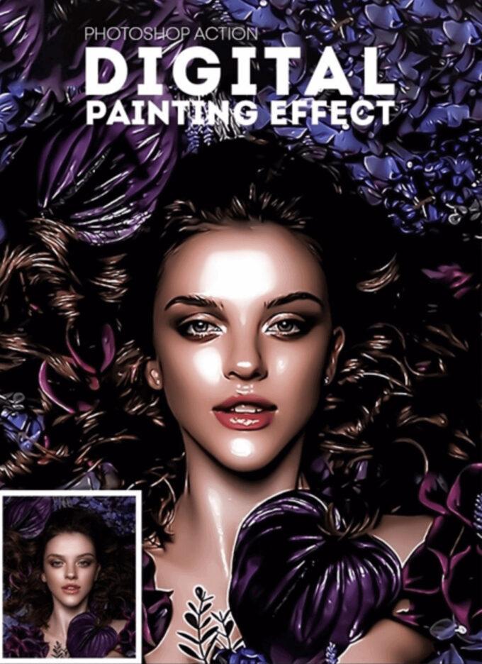 Adobe Photoshop Free Action Material フリー アクション 素材 油絵 オイルペイント Digital Painting Effect