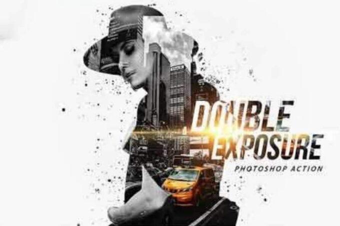 Adobe Photoshop Free Action Material 無料 フリー アクション 素材 お洒落 かっこいい 合成 2つの画像 組み合わせ Double Exposure Photoshop Action