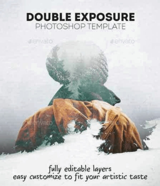Adobe Photoshop Free Action Material フリー アクション 素材 合成 2枚の写真 組み合わせ かっこいい Double Exposure Photoshop Template