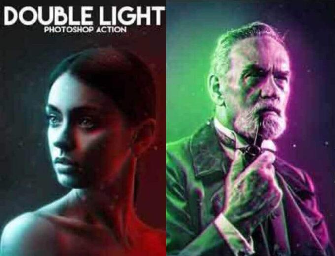 Adobe Photoshop Free Action Material 無料 フリー アクション 素材 ユニーク お洒落 かっこいい 光 ライト Double Light