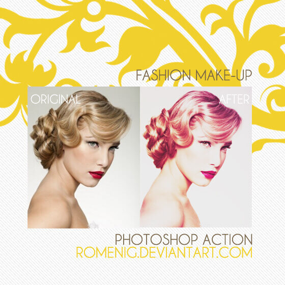 Adobe Photoshop Free Action Material フリー アクション 素材 イラスト スキン 肌 綺麗 加工 合成 FASHION MAKEUP ACTION