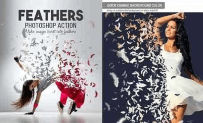 Adobe Photoshop Free Action Material フリー アクション 素材 ユニーク 羽 フェザー Feathers Photoshop Action
