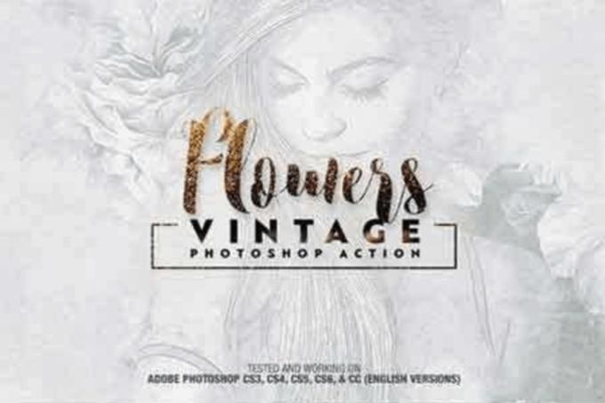 Adobe Photoshop Free Action Material フリー アクション 素材 イラスト スケッチ 鉛筆 手書き Flowers Vintage