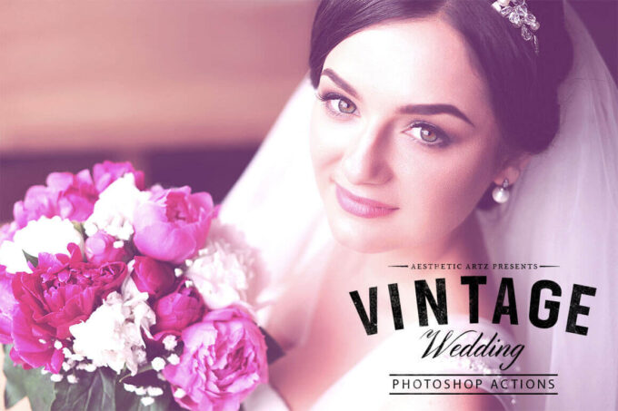 Adobe Photoshop Free Action Material フリー アクション 素材 ヴィンテージ レトロ オールドフィルム Free Aesthetic Vintage Wedding PS Action