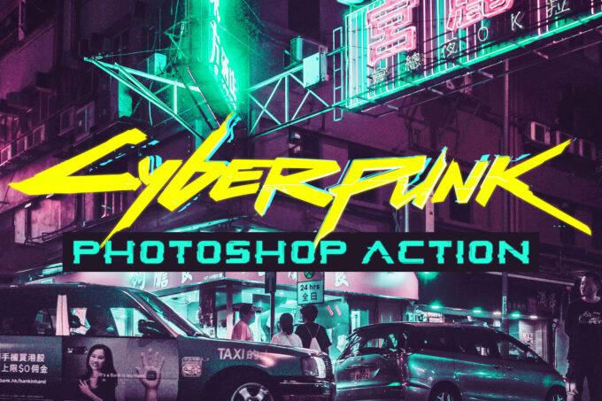 Adobe Photoshop Free Action Material フリー アクション 素材 イラスト グリッチ デジタル サイバー かっこいい Free Cyberpunk Photoshop Action