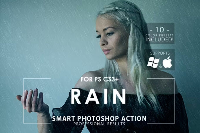 Adobe Photoshop Free Action Material フリー アクション 素材 雨 レイン 合成 Free Rain Photoshop Action