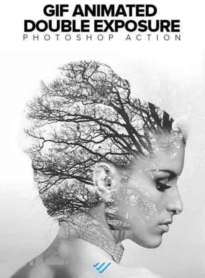 Adobe Photoshop Free Action Material 無料 フリー アクション 素材 お洒落 かっこいい 合成 2つの画像 組み合わせ Gif Animated Double Exposure Photoshop Action