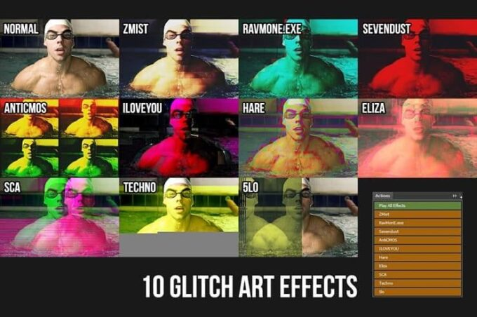 Adobe Photoshop Free Action Material フリー アクション 素材 イラスト グリッチ デジタル サイバー かっこいい Glitch Art Effects