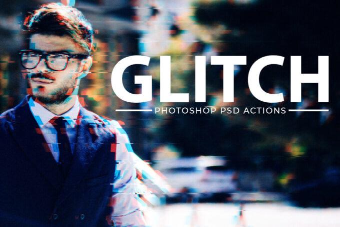 Adobe Photoshop Free Action Material フリー アクション 素材 イラスト グリッチ デジタル サイバー かっこいい Free Glitch Effect PSD Photoshop Action Kit