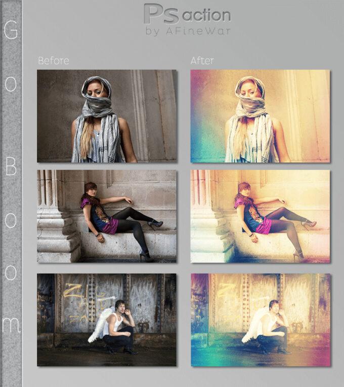 Adobe Photoshop Free Action Material フリー アクション 素材 ヴィンテージ レトロ 虹 ライトリークス Go Boom