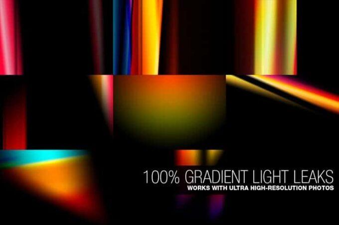 Adobe Photoshop Free Action Material フリー アクション 素材 フィルムカメラ ライトリークス 100% GRADIENT LIGHT LEAKS