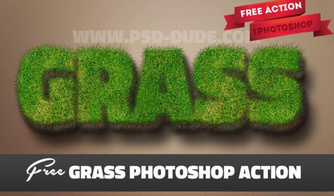 Adobe Photoshop Free Action Material フリー アクション 素材 ユニーク テキスト Grass Text Photoshop Free Action