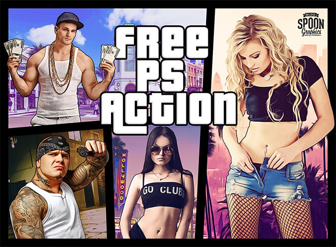 Adobe Photoshop Free Action Material フリー アクション 素材 ヴィンテージ レトロ Grand Theft Auto (GTA 5)