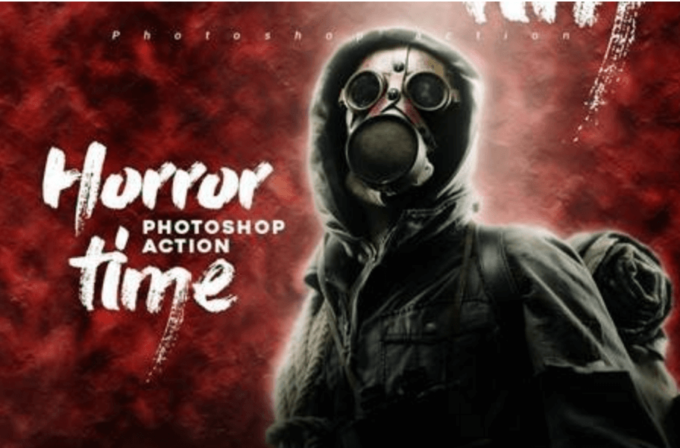 Adobe Photoshop Free Action Material フリー アクション 素材 イラスト ホラー 怖い ハロウィン Horror Time Photoshop Action
