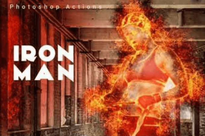 Adobe Photoshop Free Action Material 無料 フリー アクション 素材 ユニーク お洒落 かっこいい 炎 ファイヤー Iron Man