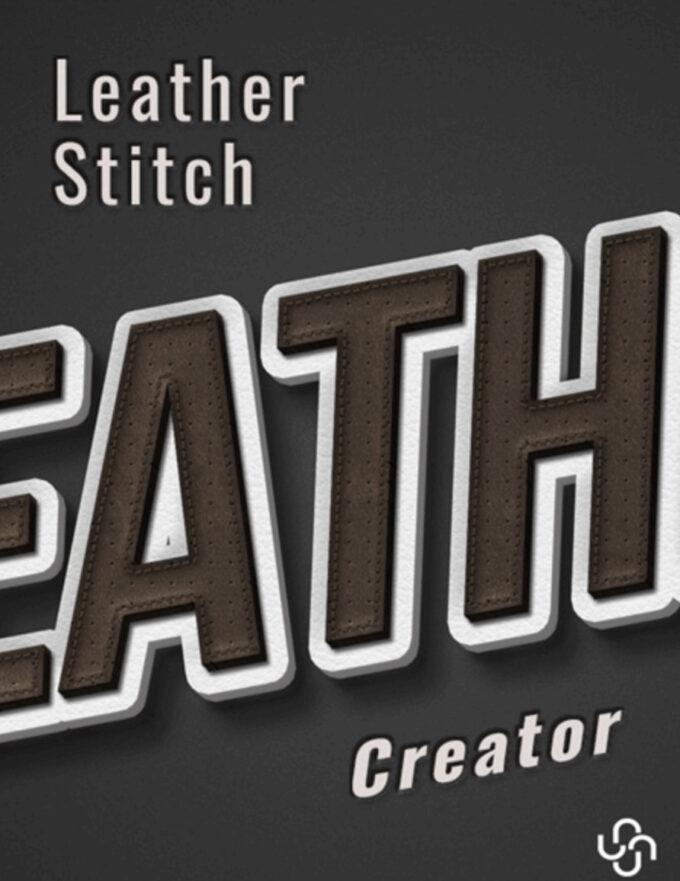 Adobe Photoshop Free Action Material フリー アクション 素材 モダン お洒落 かっこいい レザー テキスト Leather Stitching Effect Creator